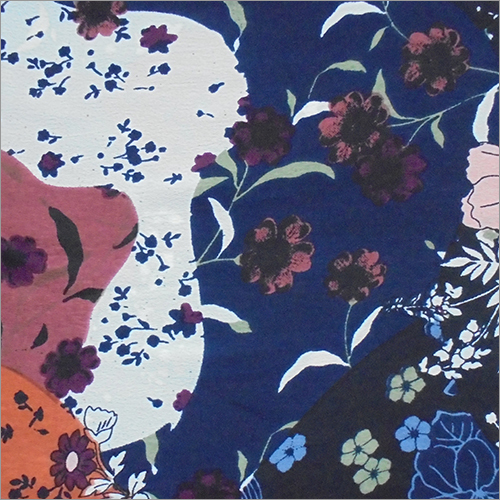 Floral Print Mosscrepe Fabric