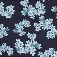 White Flower Printed Rayon Fabric