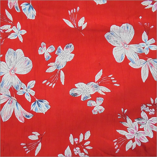 Soimoi Red Rayon Crepe Printed Fabric