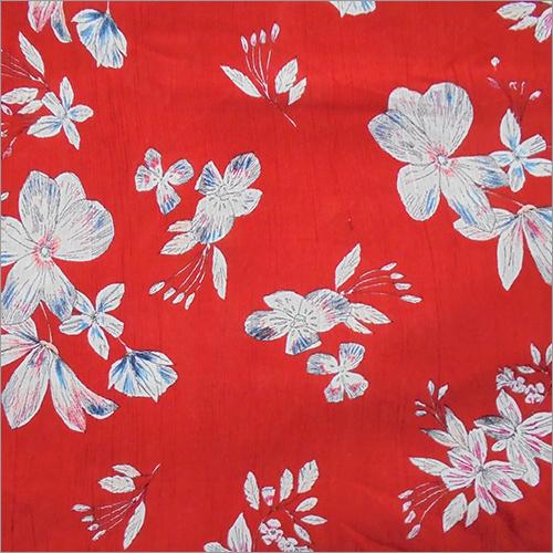 Soimoi Red Rayon Crepe Printed Fabric