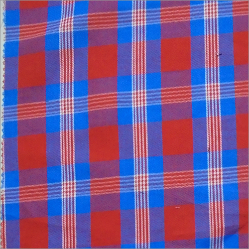 Red & Blue Cotton Yarn Dyed Check Fabric