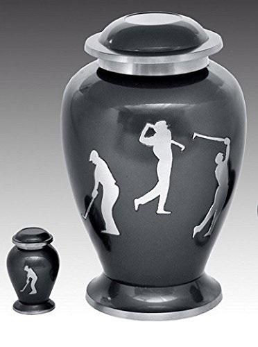 Golf Sports Accent Large Brass Cremation Urn Set