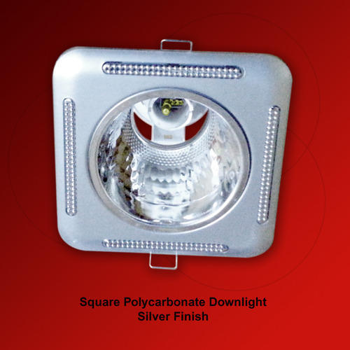 Polycarbonate Downlight Square Silver Finish