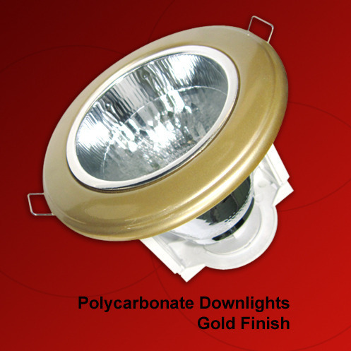 Polycarbonate Downlights Gold Finish