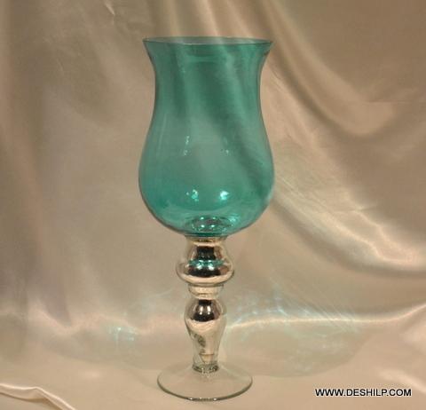 SKY BLUE GLASS FLOWER VASE