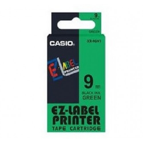 9mm Black on Green Casio Tape(G21)