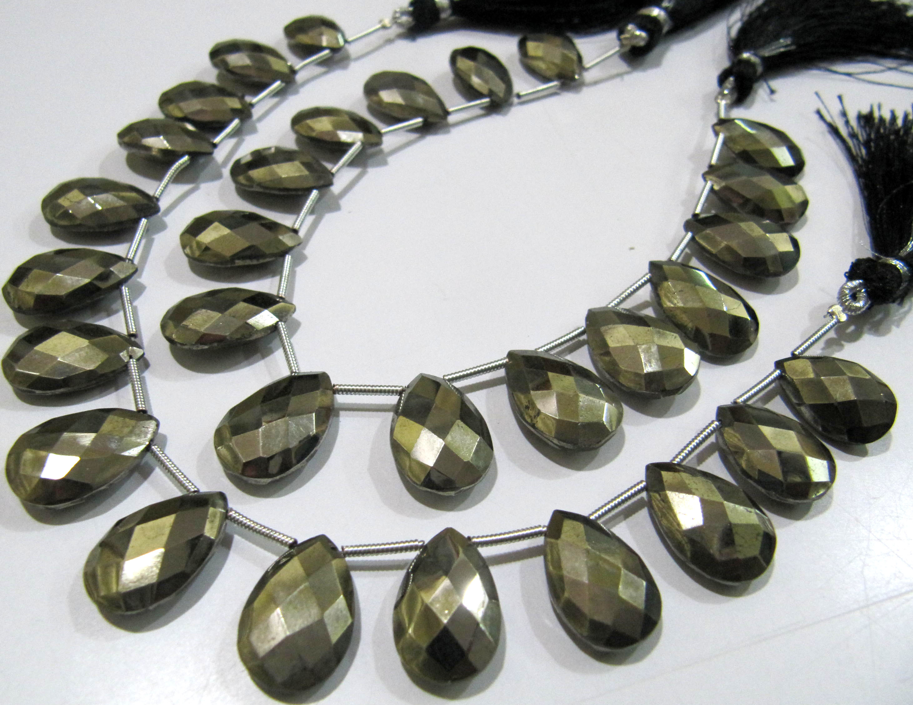 Natural Pyrite Pear Shape Briolette Faceted Beads