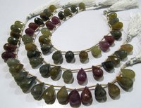 Natural Multi Sapphire Tear Drop Briolette Faceted Size 8x12mm To 9x14mm Strand 8 Inches