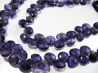 Natural Amethyst Heart Shape Faceted Beads Size 9-10 mm Strand 10 Inches