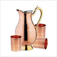 Copper Jug With Glass Set