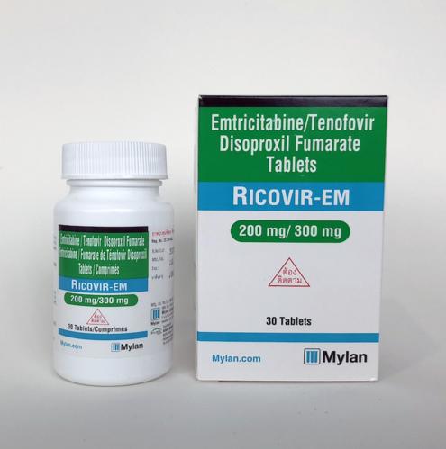 RICOVIR-EM Tenofovir Disoproxil Fumarate 300mg and Emtricitabine 200mg