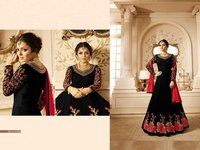 Abaya style BLACK Georgette Anarkali Suit