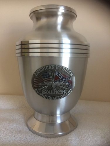 Oval Dixie Southern Adult Solid Aluminum Cremation Urn
