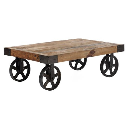 Wooden Wheels Coffee Table