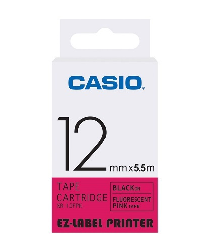 12mm Black on Pink Casio Tape (CG46)