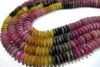 Natural Multi Sapphire German Cut Rondelle Faceted Shape Beads