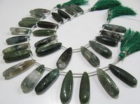 Natural Moss Green Jasper Pear Shape Plain Smooth Briolette beads