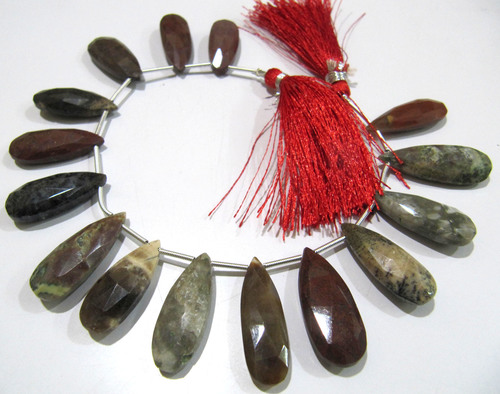 Natural Blood Agate Pear Shape Faceted Briolette beads 10x20mm To 12x24mm