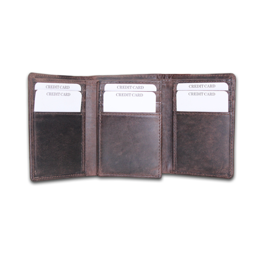 Men RFID Genuine Leather Tri-Fold Wallet