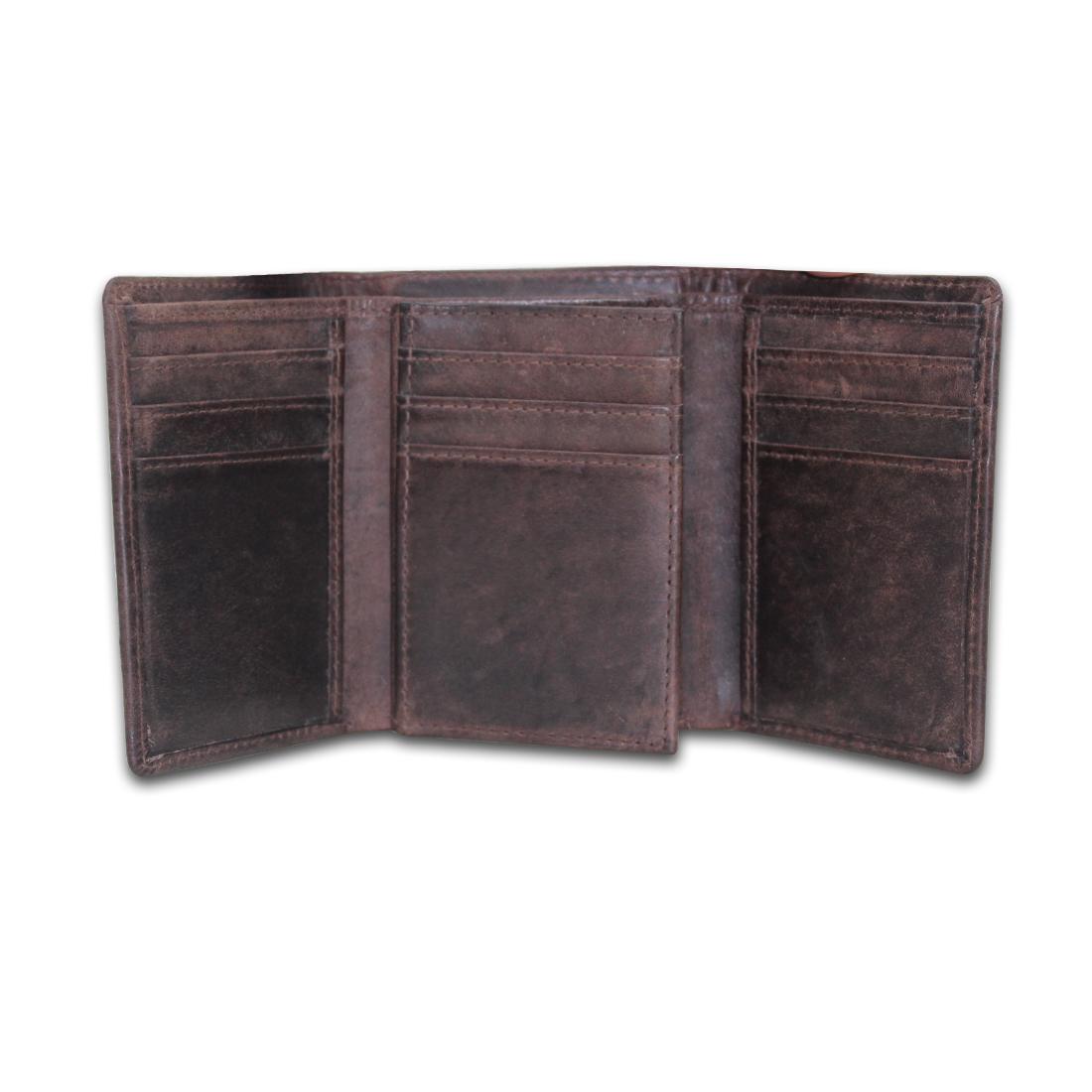 Men RFID Genuine Leather Tri-Fold Wallet