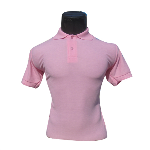 Polo Neck Half Sleeves Pink T Shirt