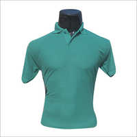 Polo Neck Half Sleeves Green T Shirt