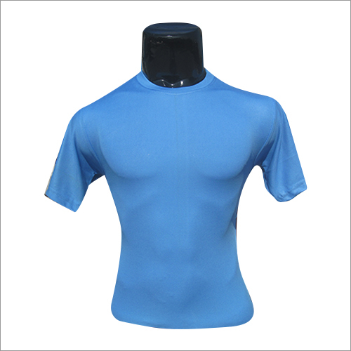 Mens Round Neck Blue T Shirt