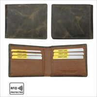 Men Genuine Leather RFID Bi-Fold Wallet