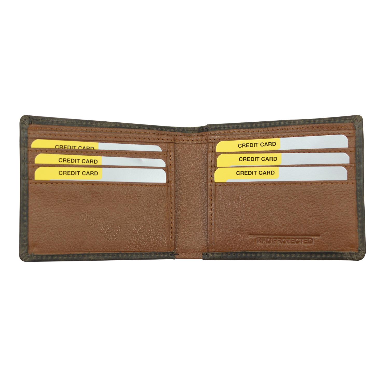 Men Genuine Leather RFID Bi-Fold Wallet