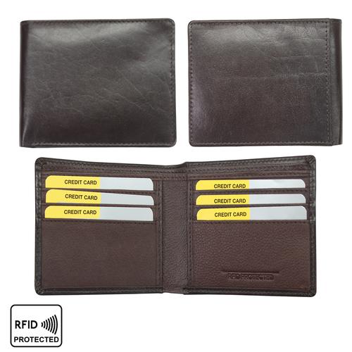 Men Leather Bi-Fold Anti-Theft Slim Wallet