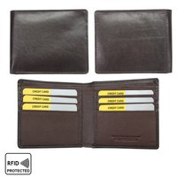 Men Leather Bi-Fold Anti-Theft Slim Wallet