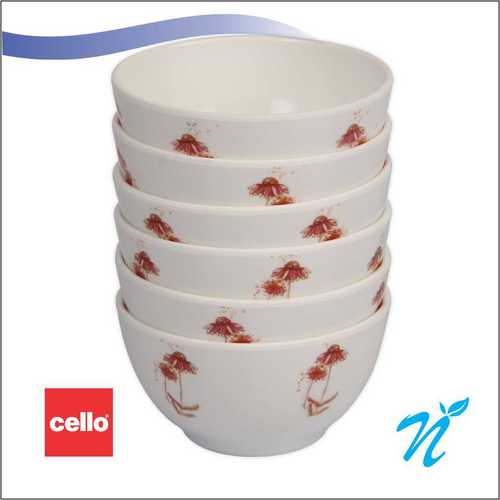 Cello Platino Melamine Veg Bowl (6 Pcs) – Red Petal