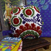 Indian Embroidered Handmade 100% Cotton Suzani Round Cushion Cover