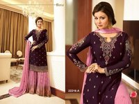 Aaisha takia purple pink georgette SHARARA style Suit
