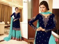 Aaisha takia nevy blue with sky blue georgette SHARARA style Suit