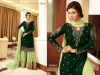 Aaisha takia brown with peach georgette SHARARA style Suit