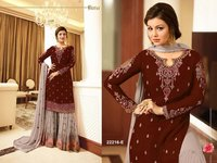 Aaisha takia maroon with grey georgette SHARARA style Suit