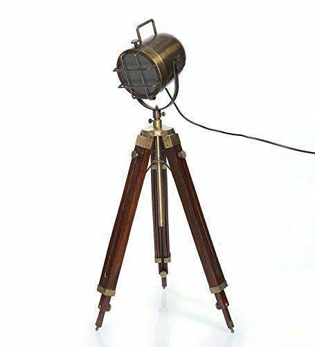 Tripod Floor Lamp Brass Antique Finish Search Light