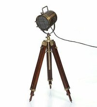 Tripod Floor Lamp Brass Antique Finish Search Light