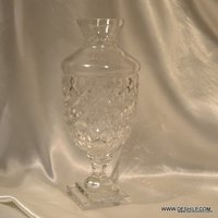 CLEAR GLASS CUTTING FLOWER VASE