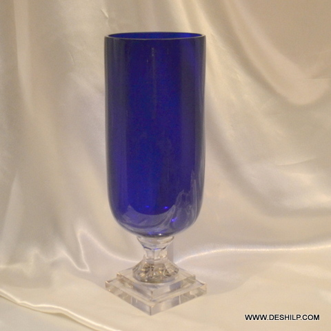 BLUE COLOR CRYSTAL GLASS FLOWER VASE