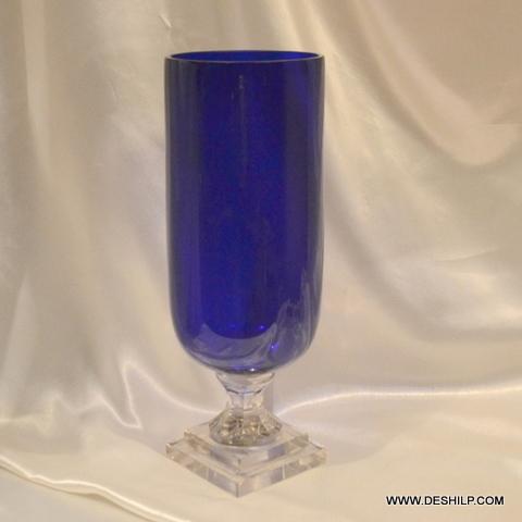 BLUE COLOR CRYSTAL GLASS FLOWER VASE