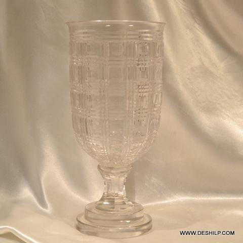 UNIQUE CRYSTAL CUTTING GLASS FLOWER VASE