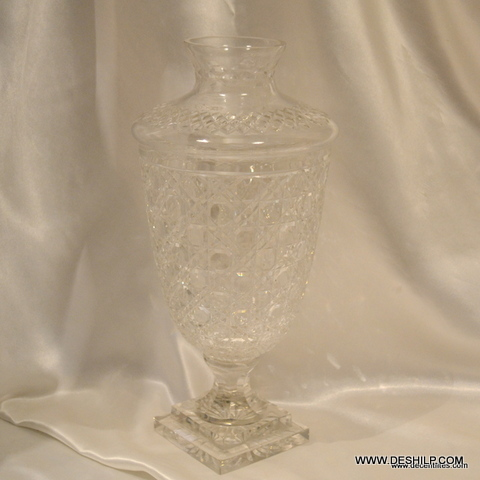 CRYSTAL GLASS FLOWER VASE
