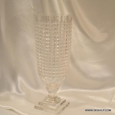 HEAVY CUTTING GLASS FLOWER VASE