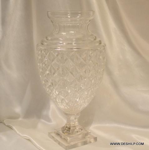 CUTTING GLASS LONG FLOWER VASE