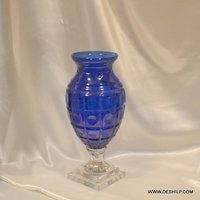 HEAVY CUT GLASS FLOWER VASE