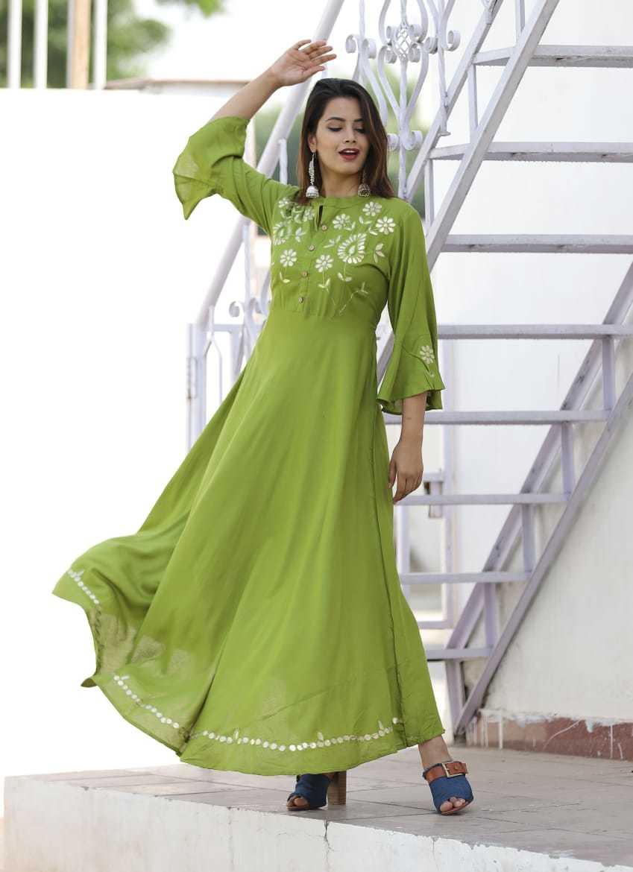 Gota Print Long Dress