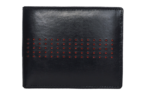 Black Men's Leather Dotted Wallet