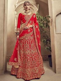 Red Velvet Multi Wedding & Bridal Designer Wholesale Lehenga Choli